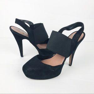 Vince Camuto | Kodi Platform Black Suede Heels